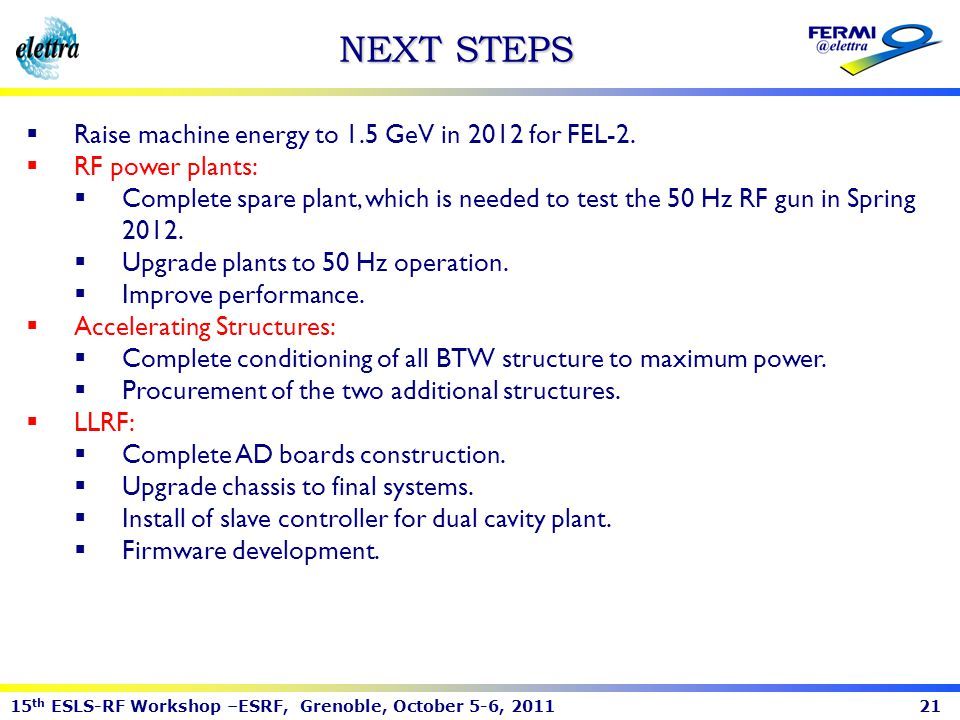 NEXT STEPS Raise machine energy to 1.5 GeV in 2012 for FEL-2.