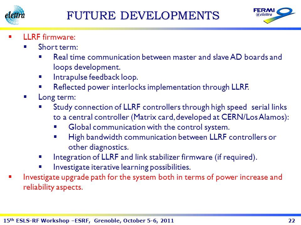 FUTURE DEVELOPMENTS LLRF firmware: Short term: