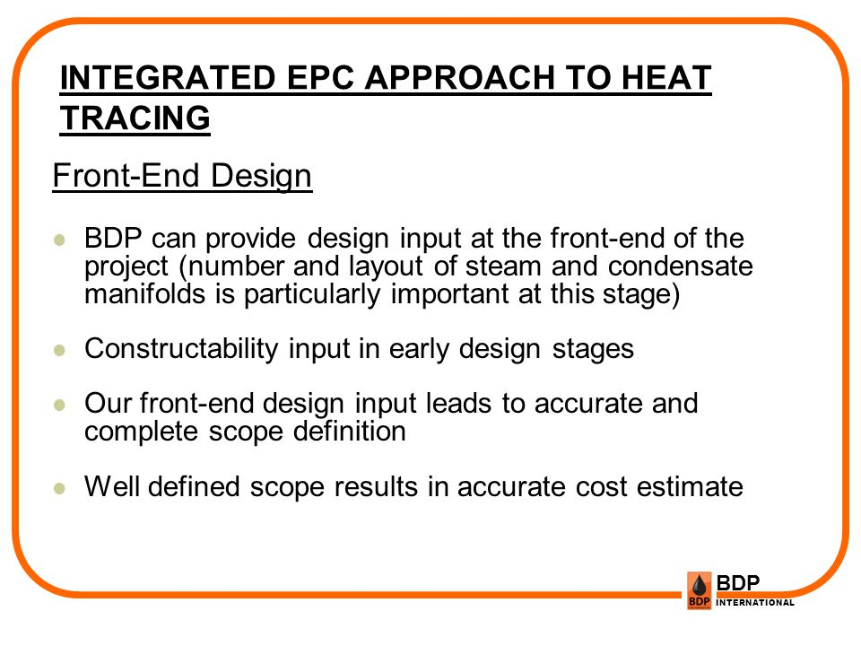 INTEGRATED EPC APPROACH TO HEAT TRACING