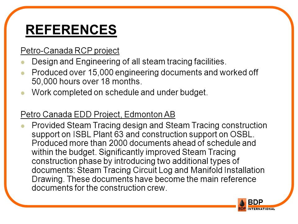 REFERENCES Petro-Canada RCP project