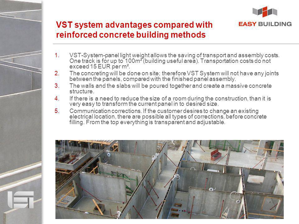 VST system advantages compared with reinforced concrete building methods