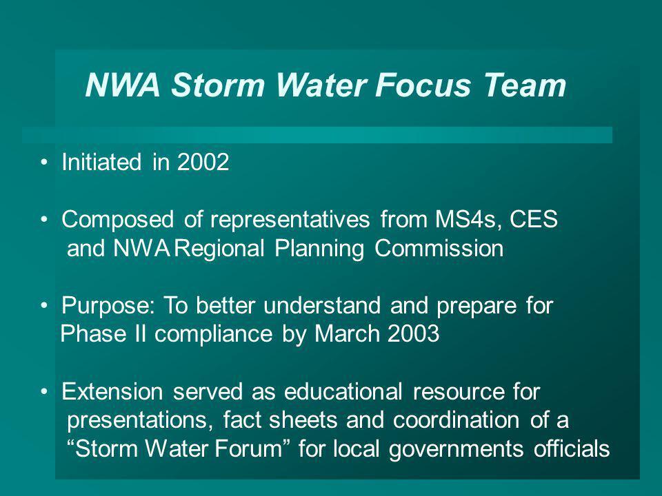NWA Storm Water Focus Team