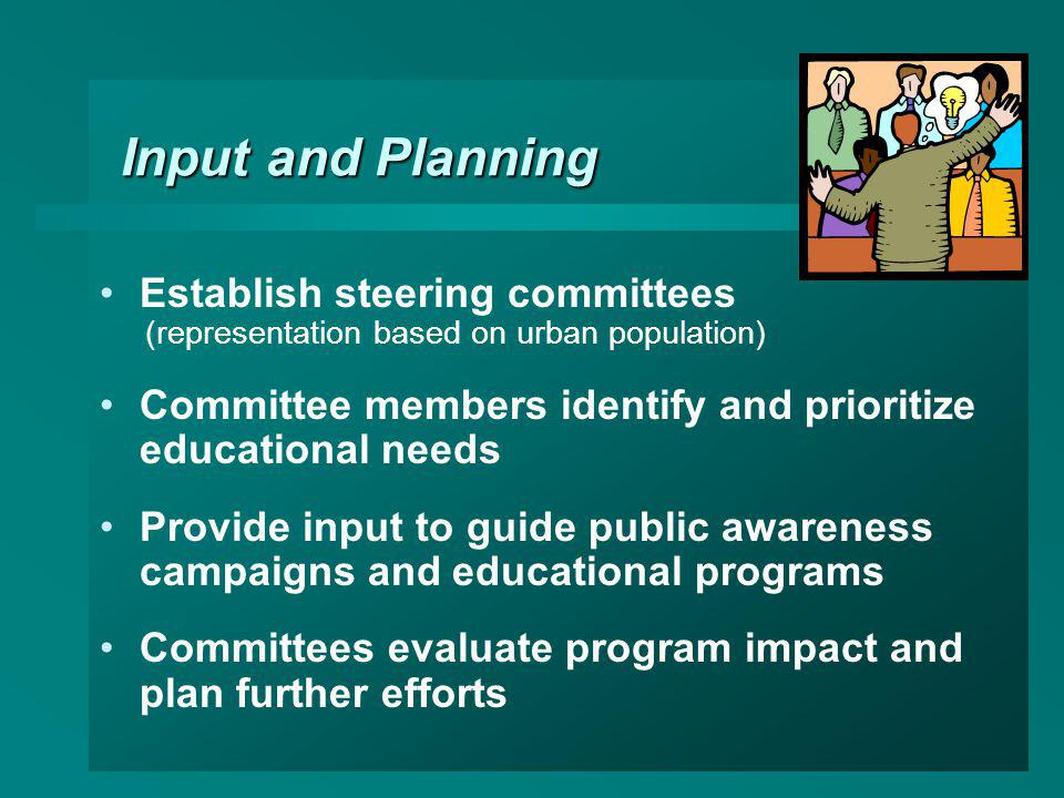 Input and Planning Establish steering committees