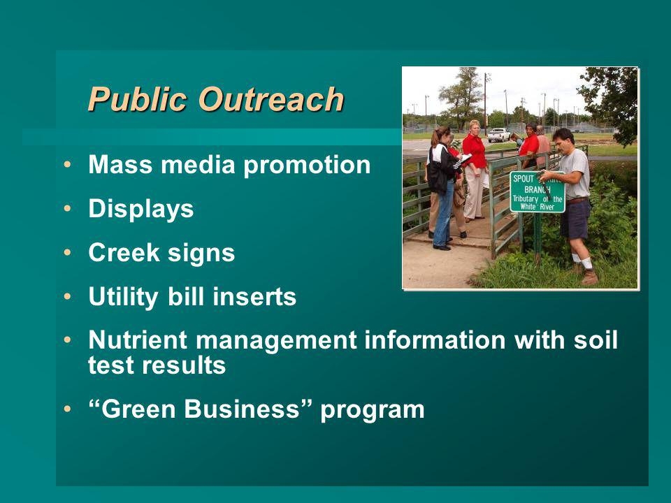 Public Outreach Mass media promotion Displays Creek signs