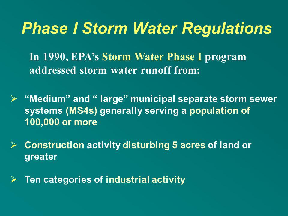 Phase I Storm Water Regulations
