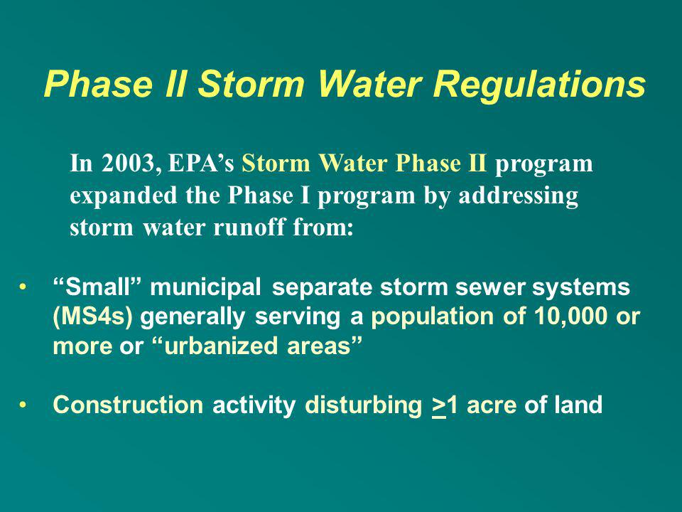 Phase II Storm Water Regulations