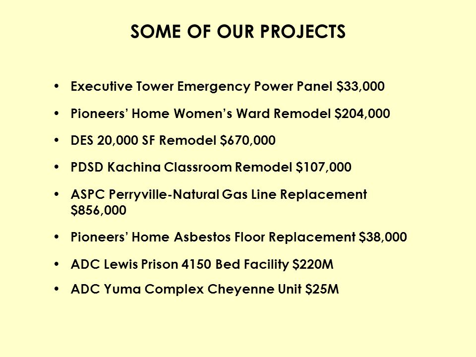 SOME OF OUR PROJECTS Executive Tower Emergency Power Panel $33,000