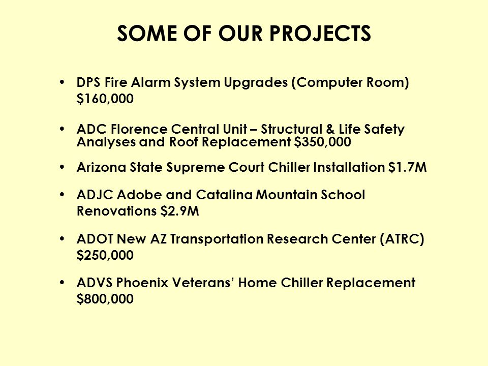 SOME OF OUR PROJECTS DPS Fire Alarm System Upgrades (Computer Room) $160,000.
