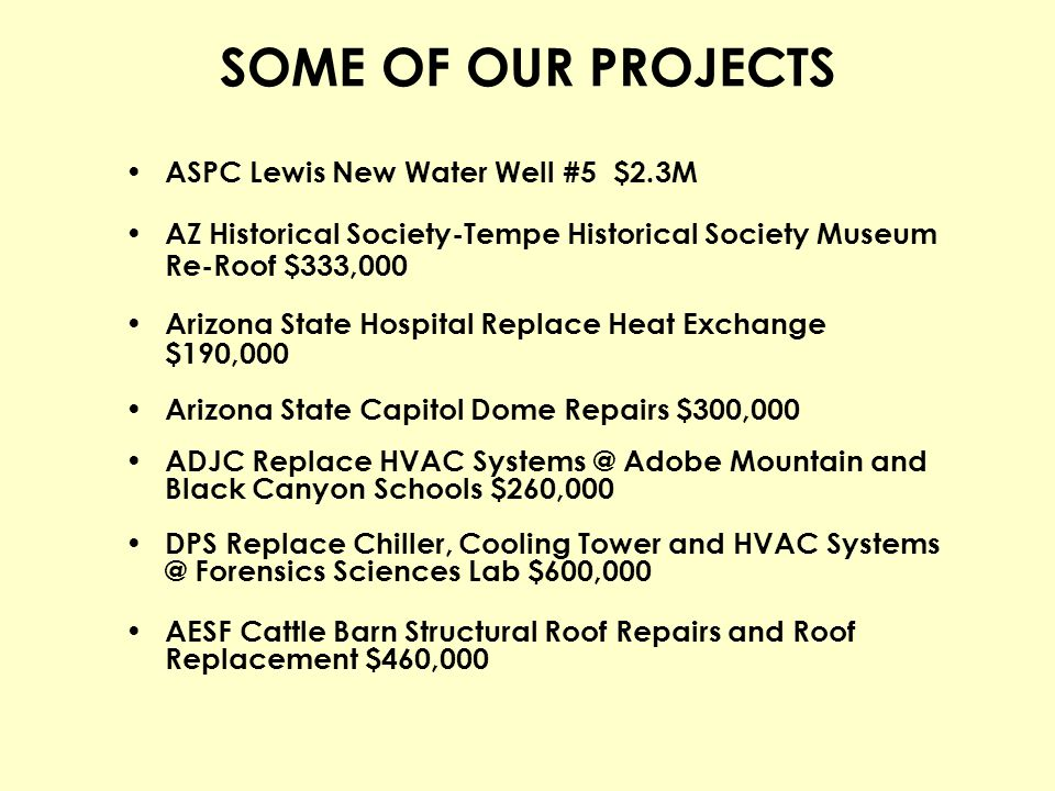 SOME OF OUR PROJECTS ASPC Lewis New Water Well #5 $2.3M