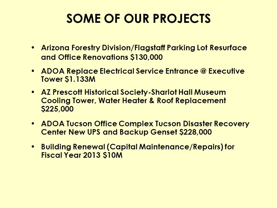 SOME OF OUR PROJECTS Arizona Forestry Division/Flagstaff Parking Lot Resurface and Office Renovations $130,000.