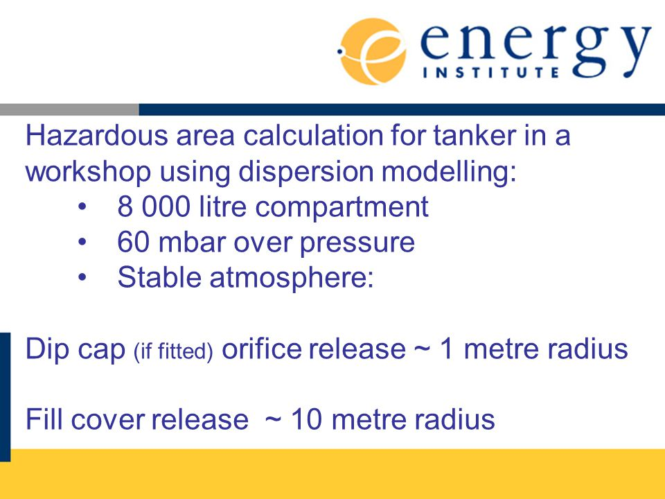 Hazardous area calculation for tanker in a workshop using dispersion modelling: