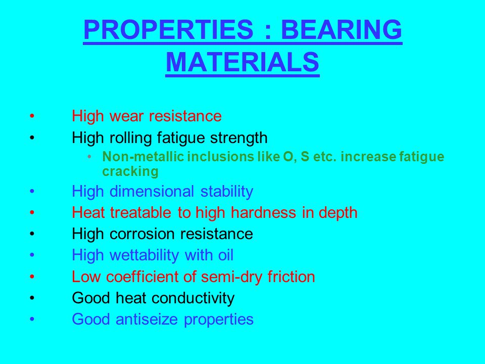 PROPERTIES : BEARING MATERIALS