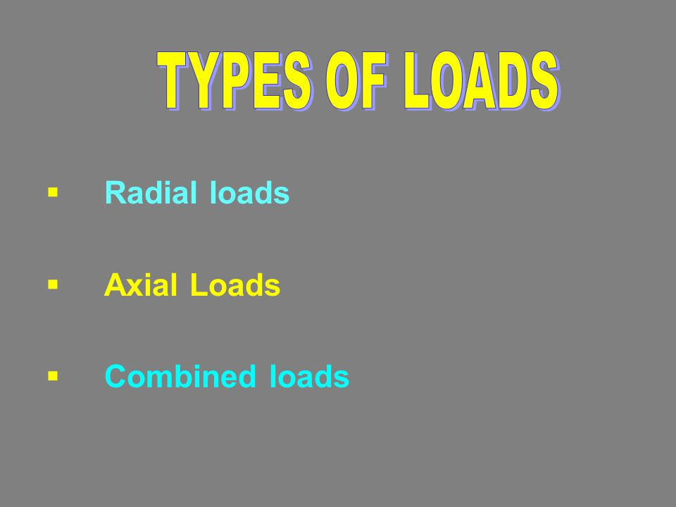 TYPES OF LOADS Radial loads Axial Loads Combined loads