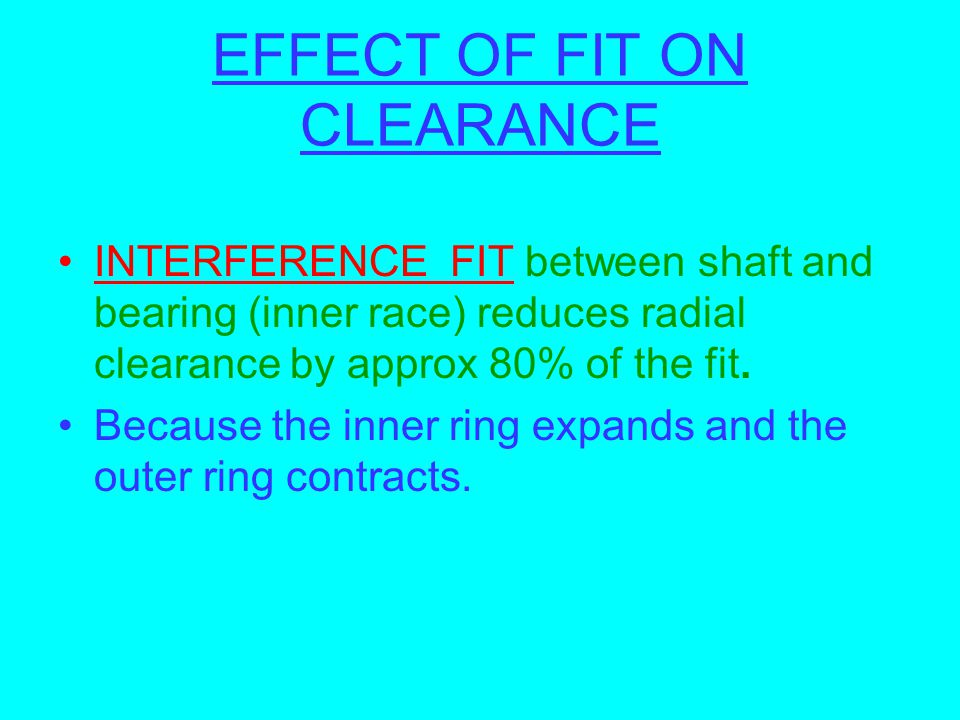 EFFECT OF FIT ON CLEARANCE