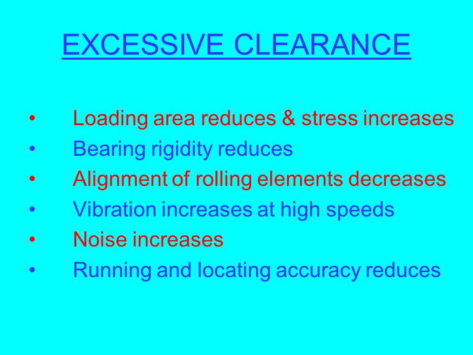 EXCESSIVE CLEARANCE Loading area reduces & stress increases