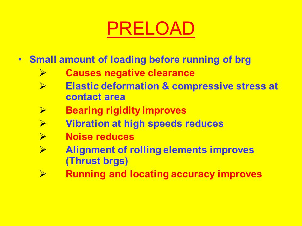PRELOAD Small amount of loading before running of brg