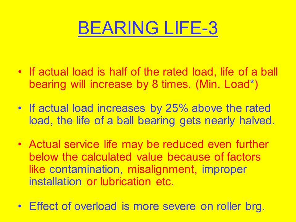 BEARING LIFE-3 If actual load is half of the rated load, life of a ball bearing will increase by 8 times. (Min. Load*)