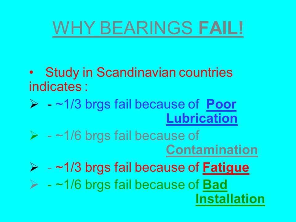 WHY BEARINGS FAIL! Study in Scandinavian countries indicates :