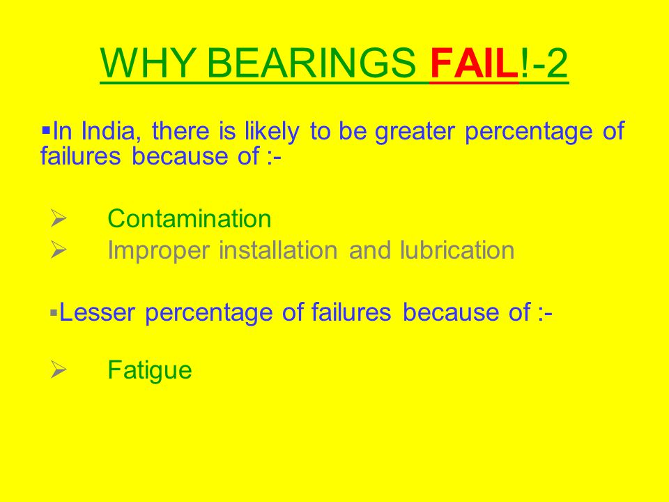WHY BEARINGS FAIL!-2 In India, there is likely to be greater percentage of failures because of :- Contamination.