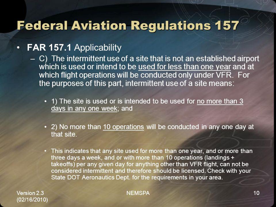 Federal Aviation Regulations 157
