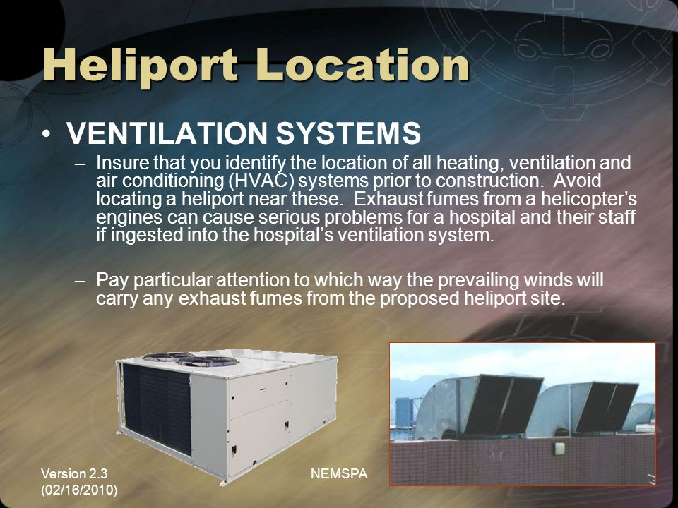 Heliport Location VENTILATION SYSTEMS