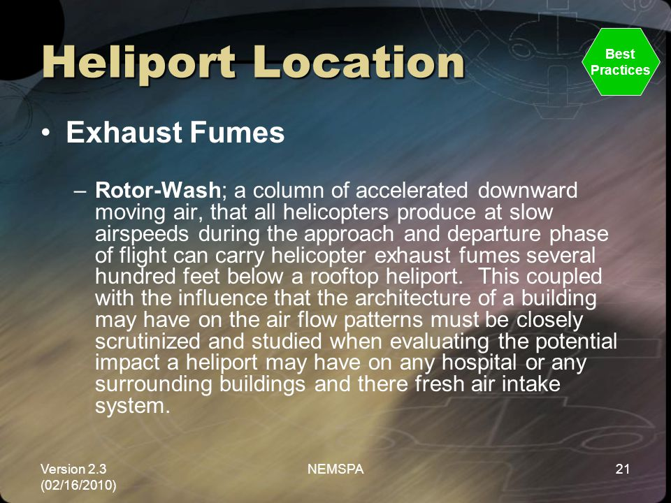 Heliport Location Exhaust Fumes