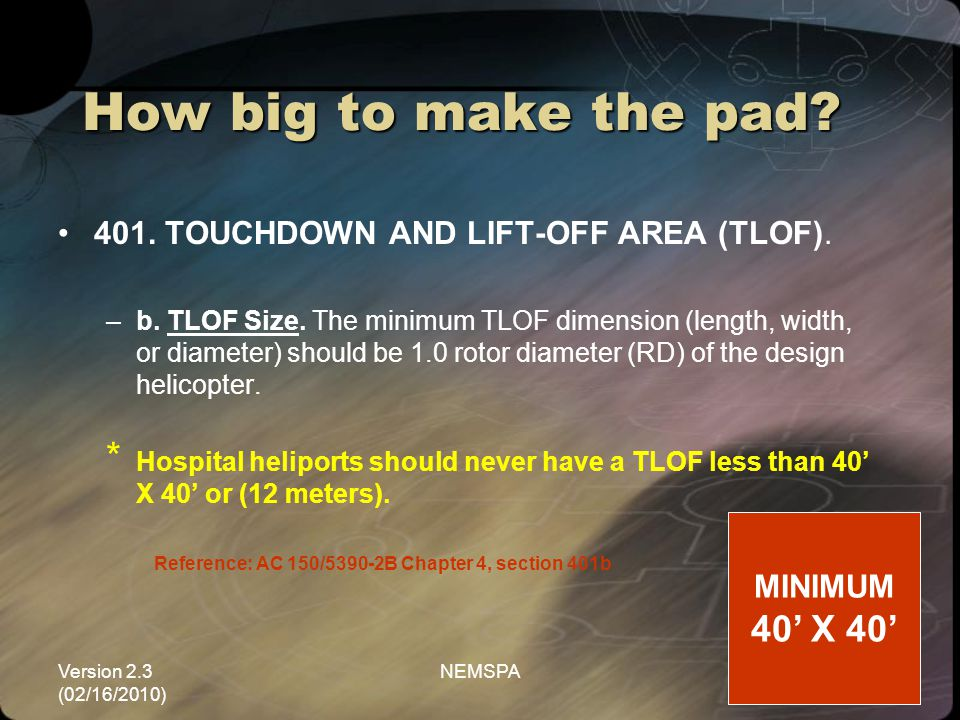 How big to make the pad 40' X 40'