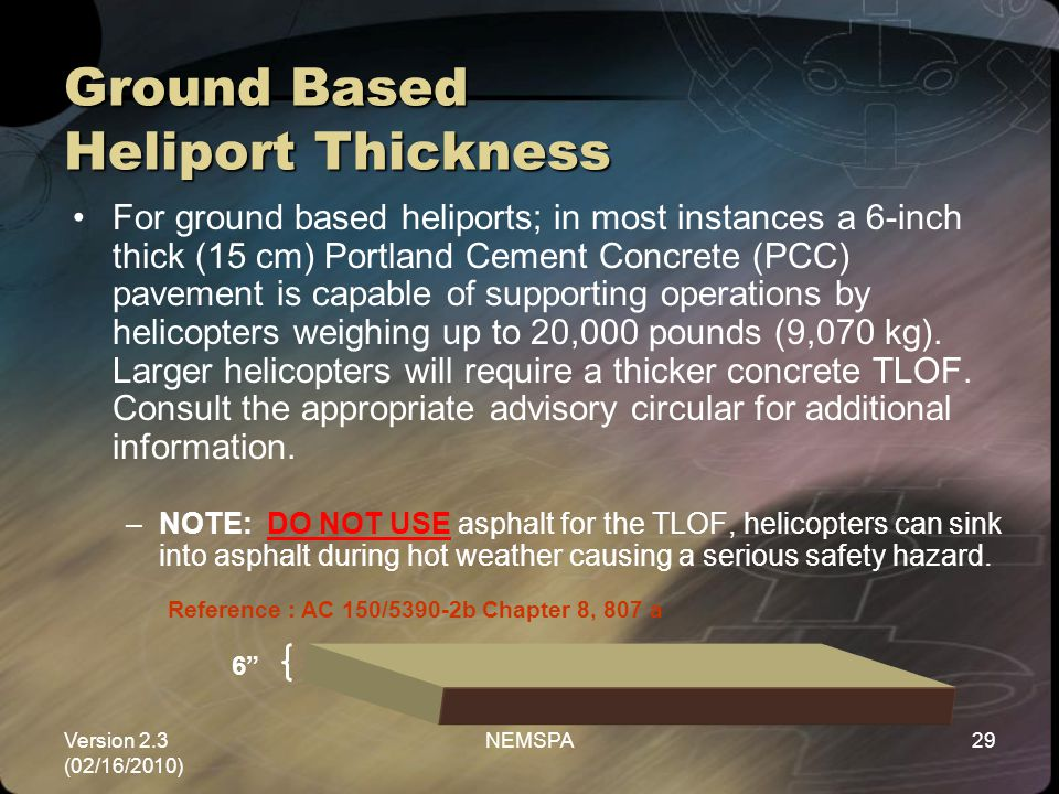 Ground Based Heliport Thickness