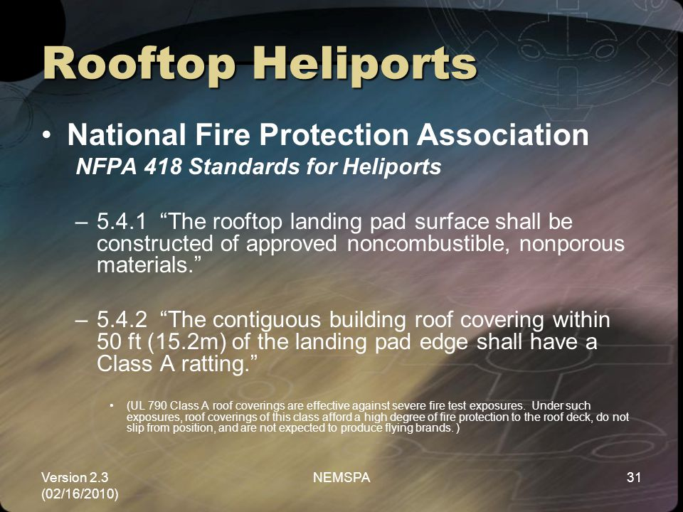 Rooftop Heliports National Fire Protection Association