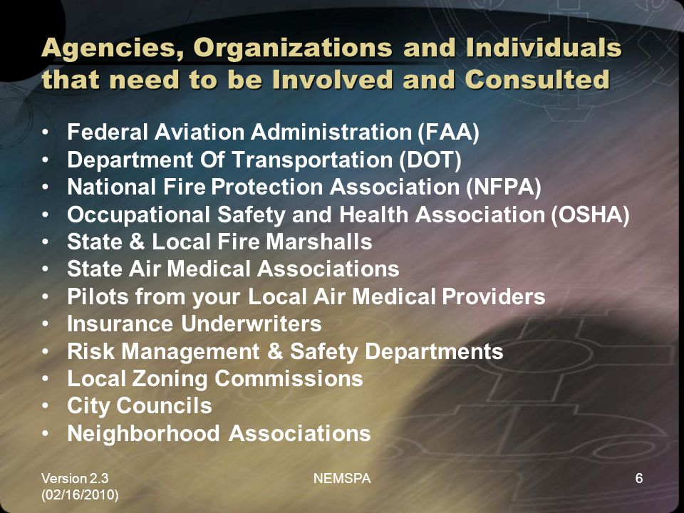 Agencies, Organizations and Individuals that need to be Involved and Consulted
