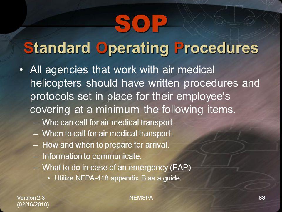 SOP Standard Operating Procedures
