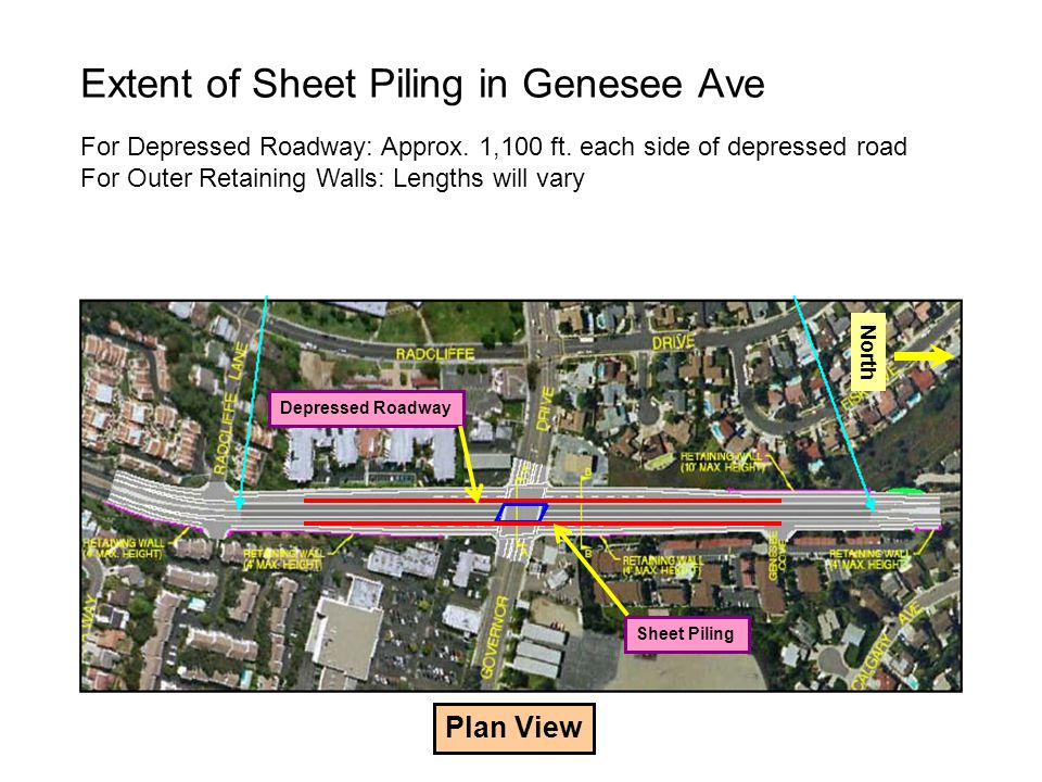 Extent of Sheet Piling in Genesee Ave