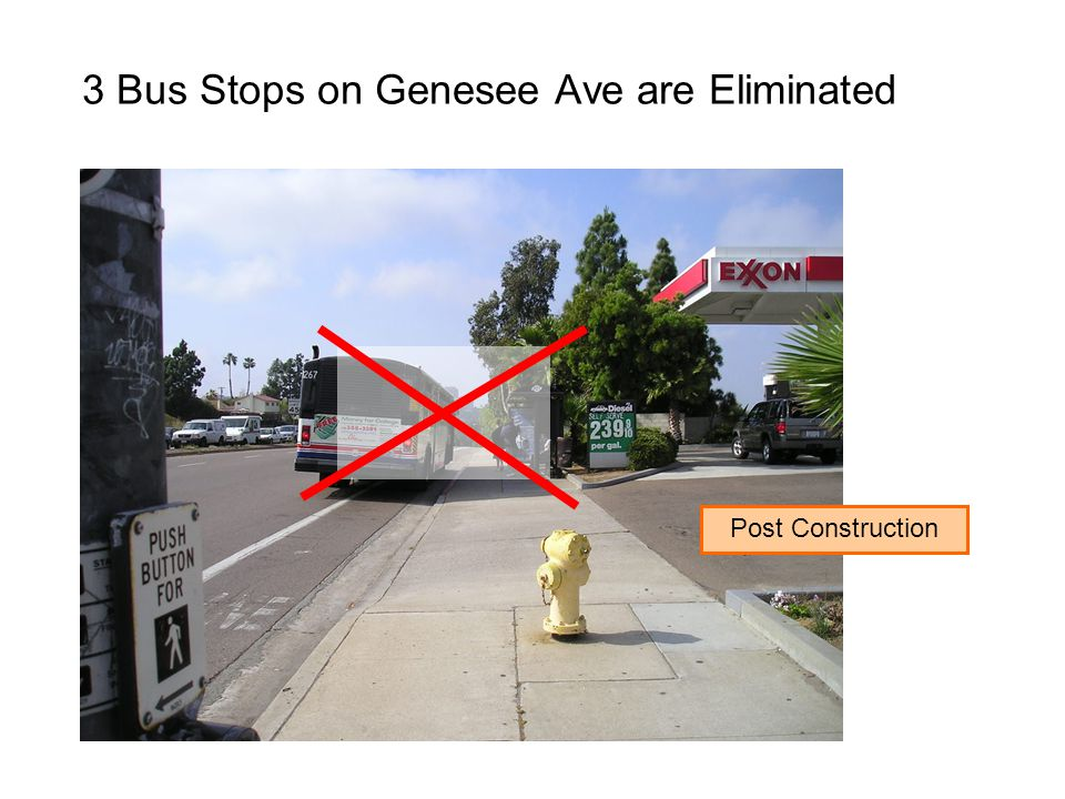 3 Bus Stops on Genesee Ave are Eliminated