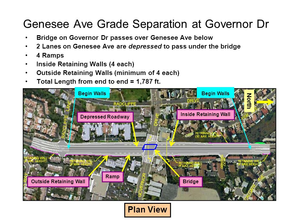 Genesee Ave Grade Separation at Governor Dr