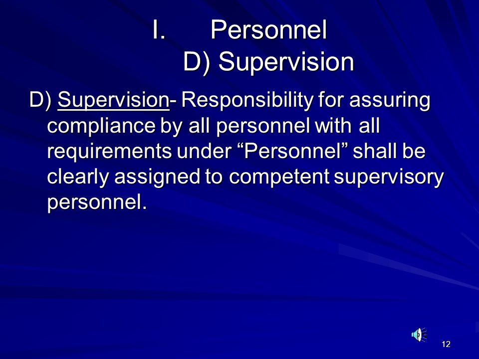 Personnel D) Supervision