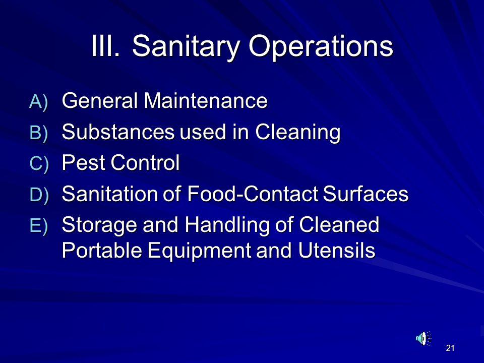 III. Sanitary Operations