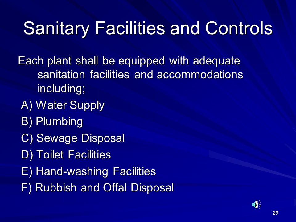 Sanitary Facilities and Controls