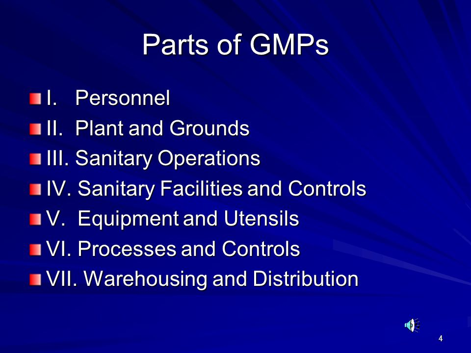 Parts of GMPs I. Personnel II. Plant and Grounds