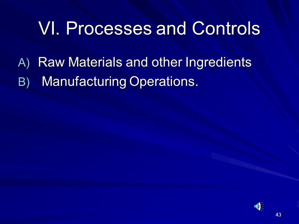 VI. Processes and Controls
