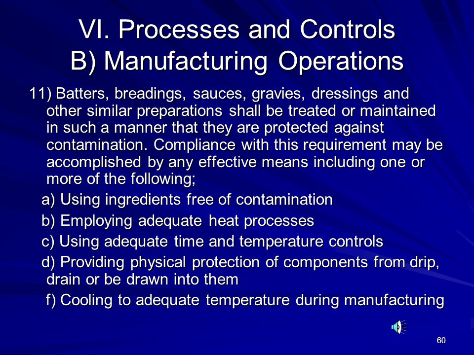 VI. Processes and Controls B) Manufacturing Operations