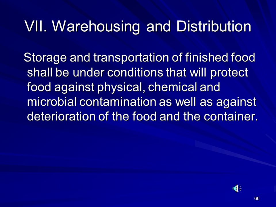 VII. Warehousing and Distribution