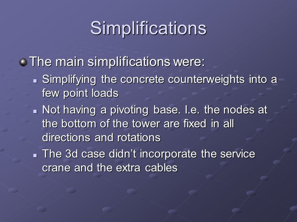 Simplifications The main simplifications were: