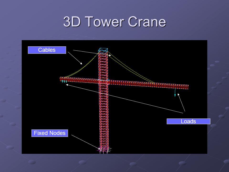 3D Tower Crane Cables Loads Fixed Nodes