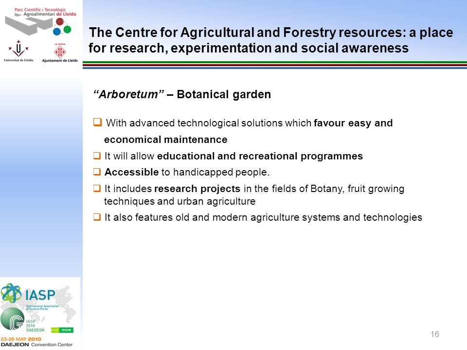 The Centre for Agricultural and Forestry resources: a place for research, experimentation and social awareness