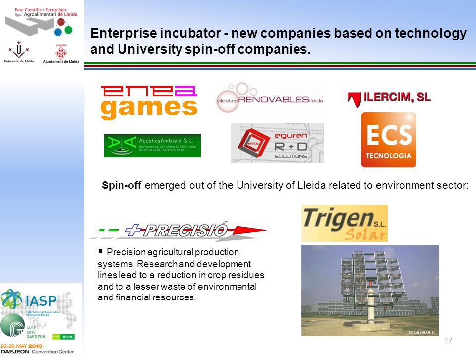 Enterprise incubator - new companies based on technology and University spin-off companies.