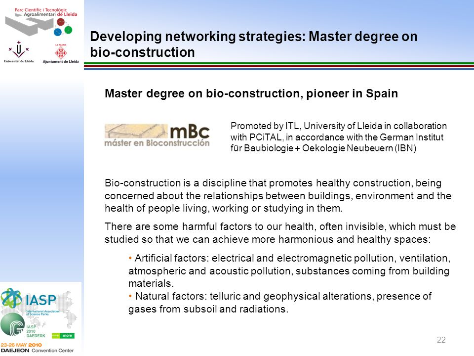 Developing networking strategies: Master degree on bio-construction