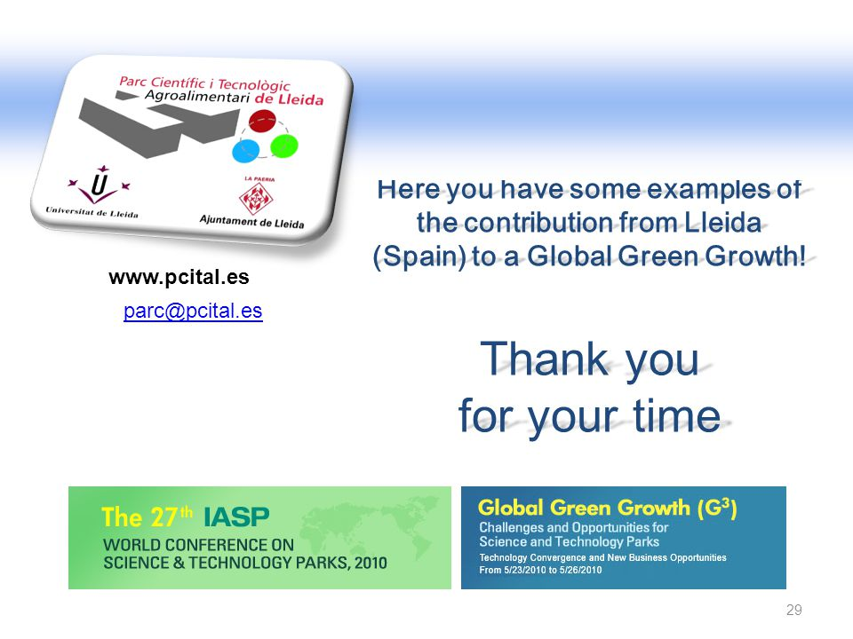 Here you have some examples of the contribution from Lleida (Spain) to a Global Green Growth!