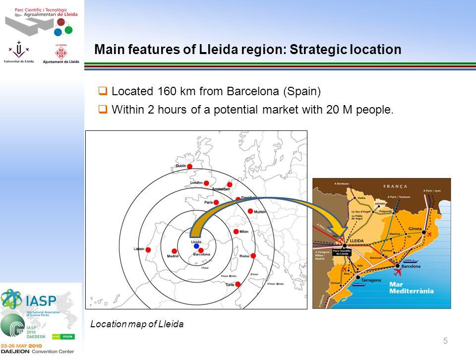 Main features of Lleida region: Strategic location
