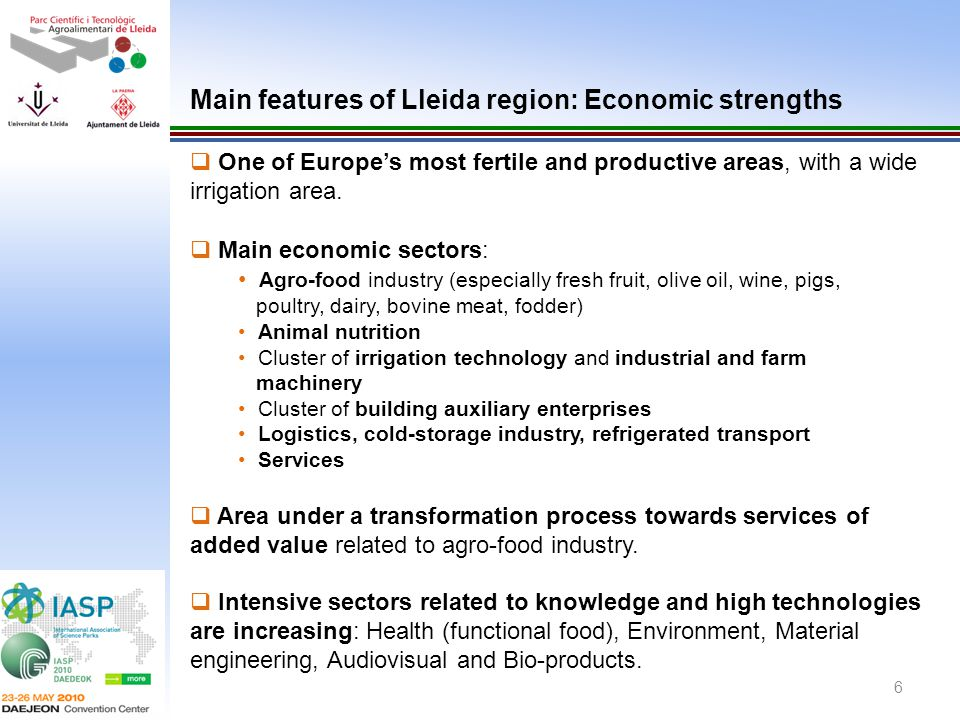 Main features of Lleida region: Economic strengths