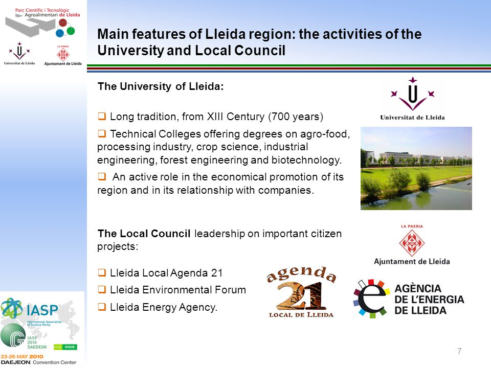 Main features of Lleida region: the activities of the University and Local Council